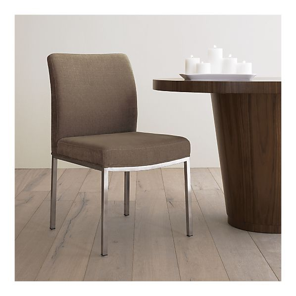 Dining Chairs With Stainless Steel Legs Desk Chair Gold Coast Studio Side Hardwood Frame Base Synthetic Web Suspension Seat And Back Cushions Are Polyfiber 100 Polyester Fabric Brushed