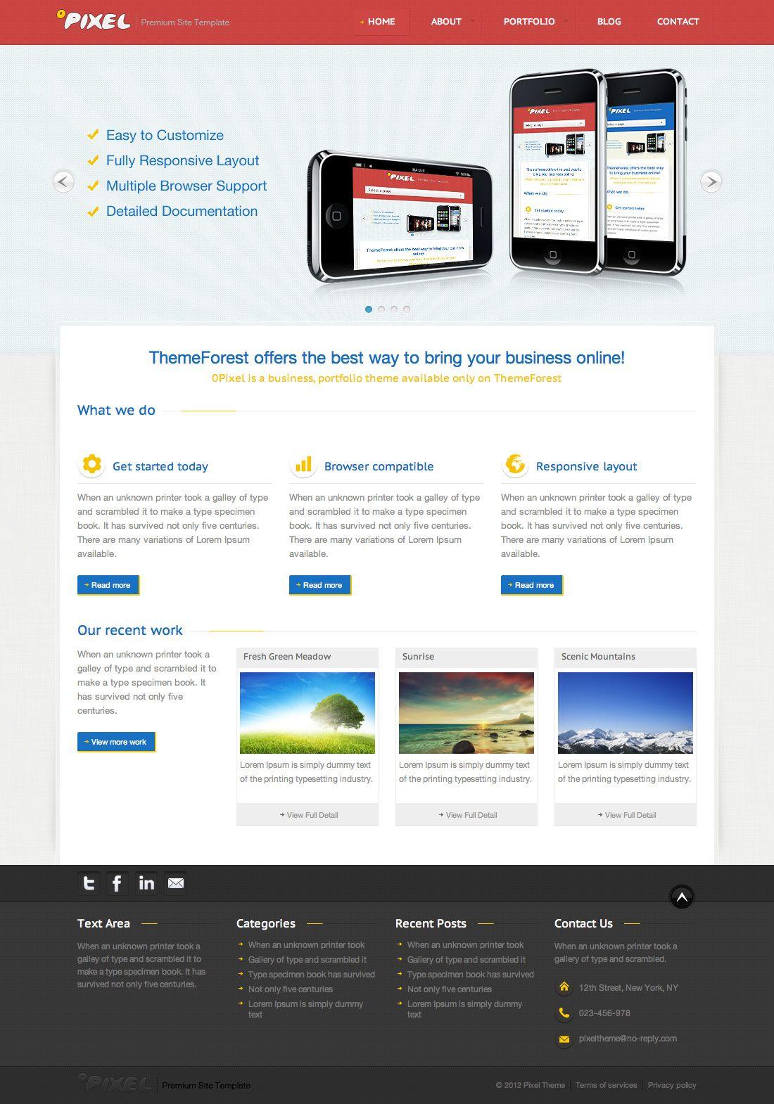 0Pixel Responsive HTML5 Template Html5 templates