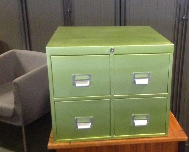 Over2hills 4 Drawer Card Index Filer in Lime Green-REDUCED