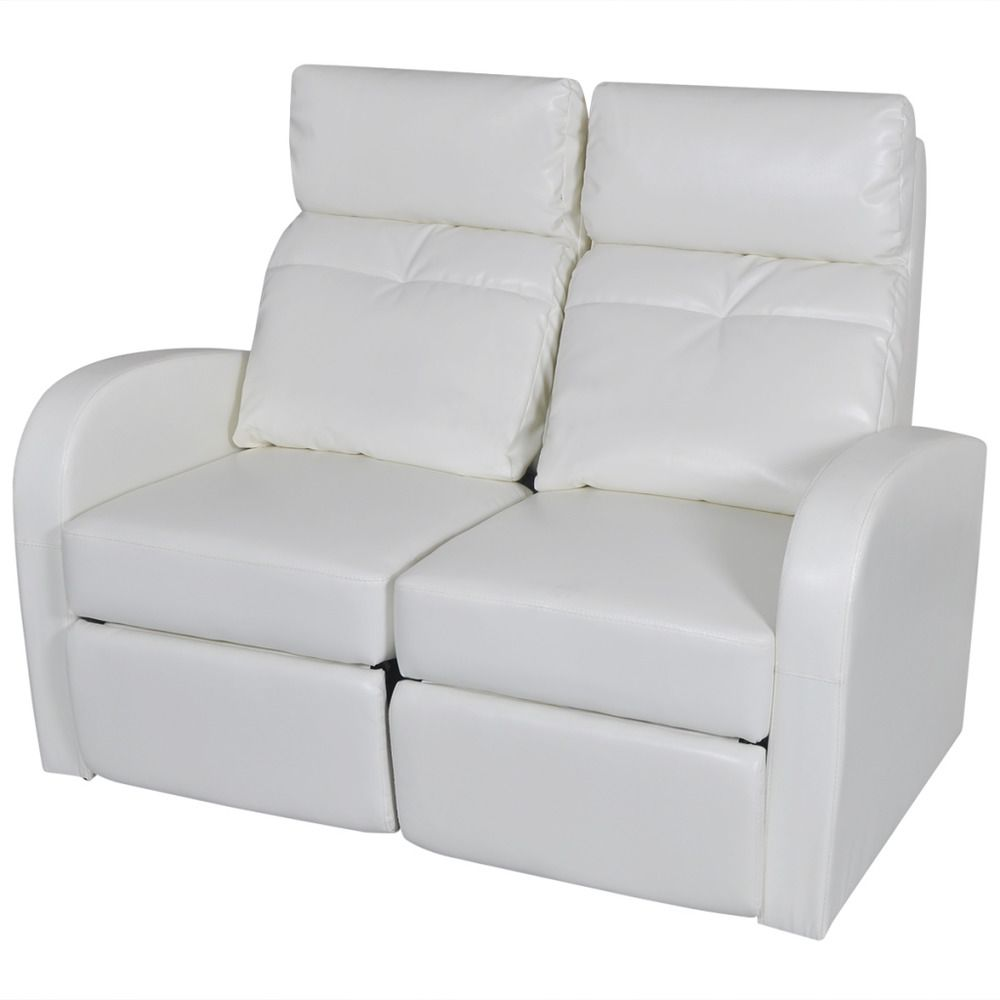 Super Home Theater Seating Row Of 2 Recliner Footrest White Faux Caraccident5 Cool Chair Designs And Ideas Caraccident5Info
