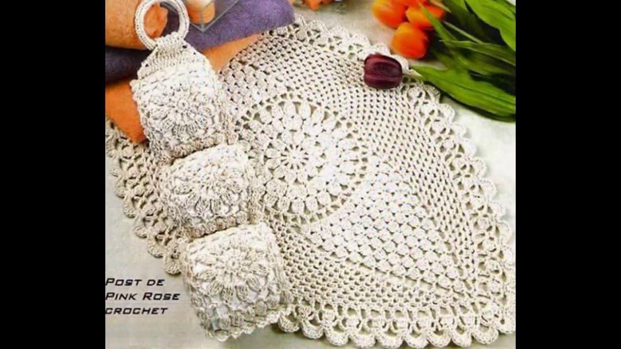 juego de Baño Tejido a crochet patrones   Crochet manteles ropa de ...
