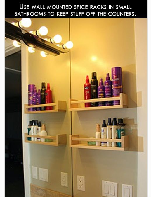 Spice shelves as bathroom organization - Seems easy. Better than ...