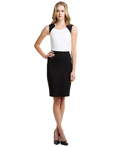 Tahari ASL Ivory & Black Embellished Sheath Dress