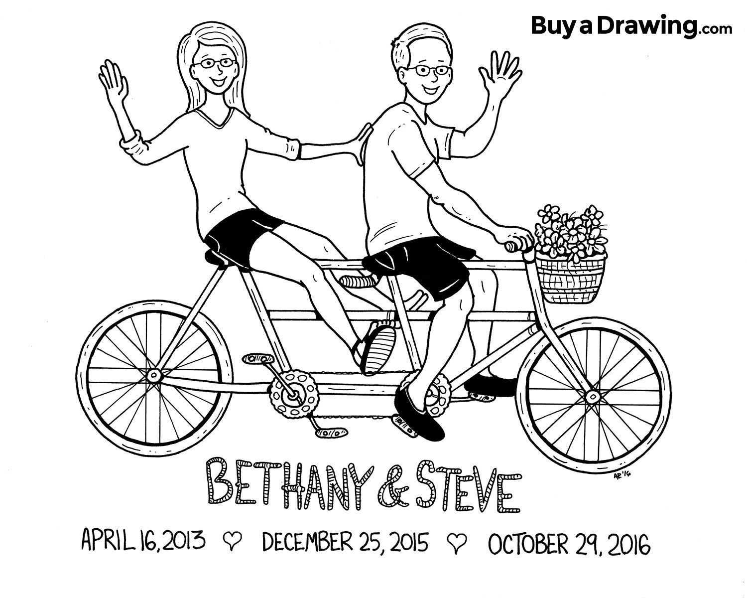 Couple On A Tandem Bicycle Cartoon Caricature Drawing Tandem Fahrrad