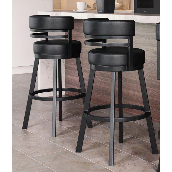 Chamisa Swivel Bar Counter Stool Black Bar Stools Kitchen Comfortable Bar Stools Island Bar Stools