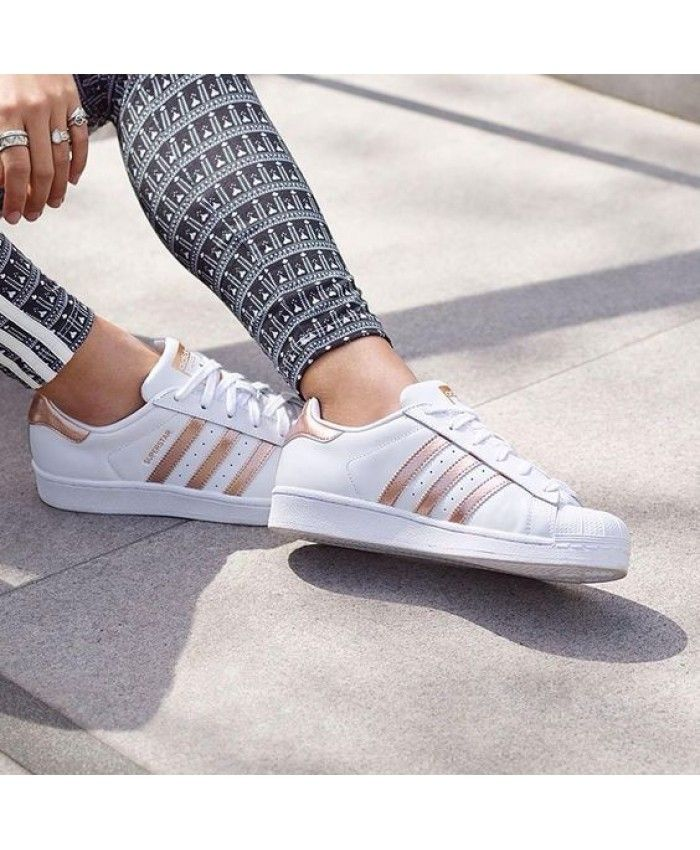 e0b2fca98934d Adidas Original Womens Superstar White Shoes with Rose Gold Stripes Sale UK