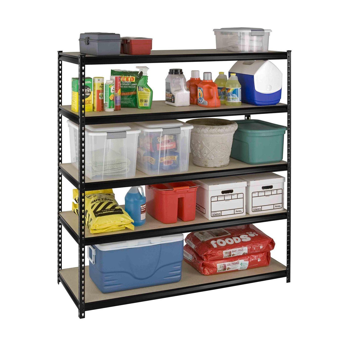 Modern Design Garage With Boltless Rivet Shelving Unit, And 5