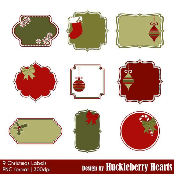 Christmas Labels Christmas Clipart Christmas by HuckleberryHearts ...