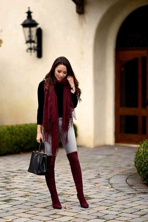 Daily Outfit Ideas For Trendy Woman With Images Burgundy Boots