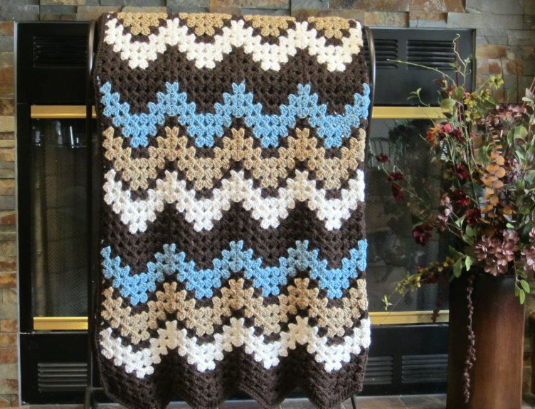 room decor crocheted ripple chevron blanket sea blue, ivory, taupe ...