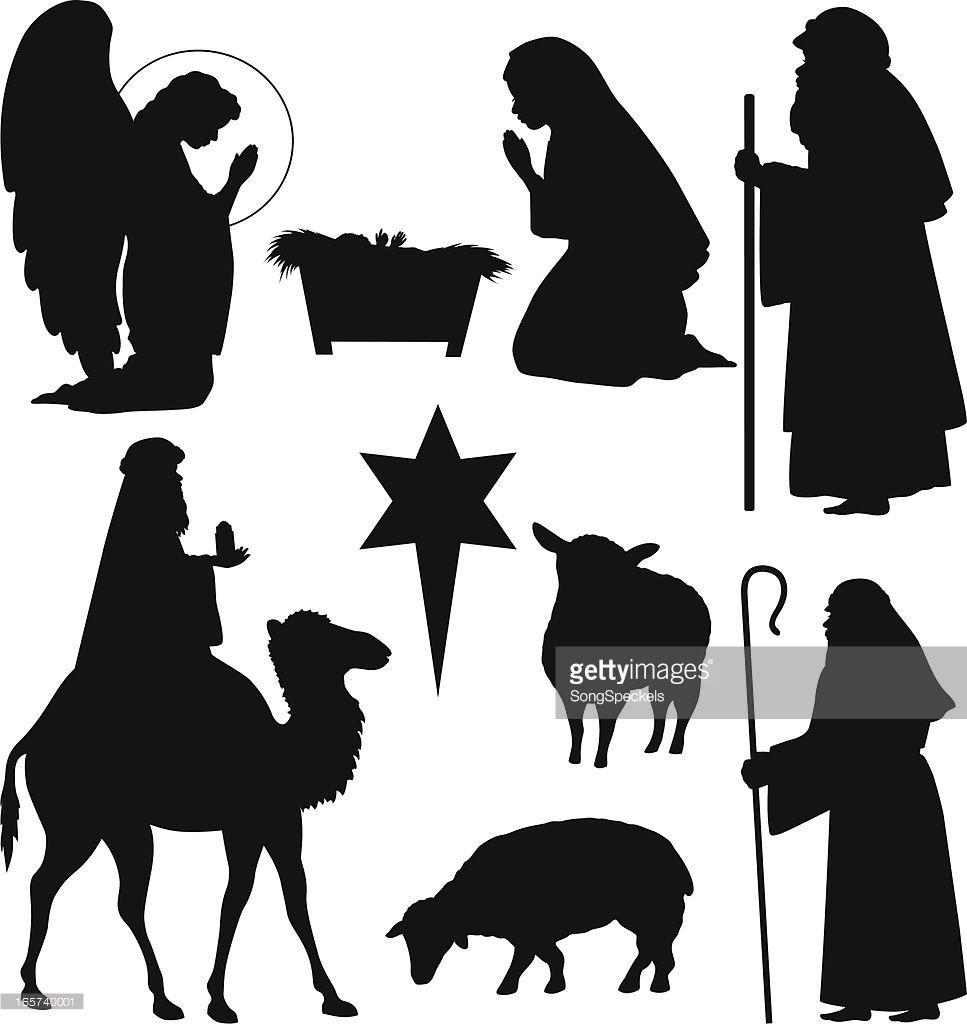 Vektorgrafik : Weihnachten Nativity Silhouetten   Basteln ...