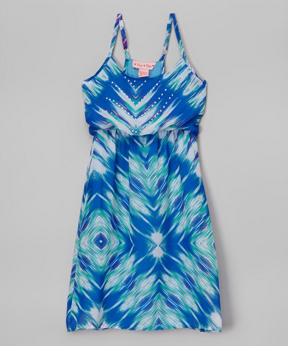 Love this Cool and Cute Turquoise Abstract Rhinestone A-Line Dress - Girls by Cool and Cute on #zulily! #zulilyfinds