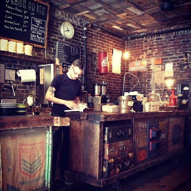 black brick 300 bedford avenue in brooklyn ny dimly lit cafe offering stumptown coffee - Black Cafe Decor