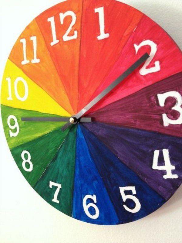 fcaf31317732 20 Diy Wall Clock Ideas   Middle School Art   Color wheel projects ...