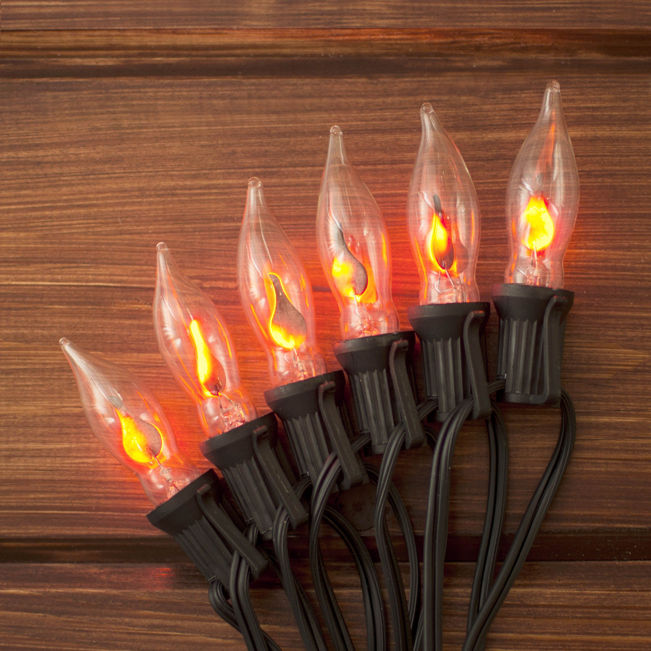 our flickering flame string lights add a realistic glow to any