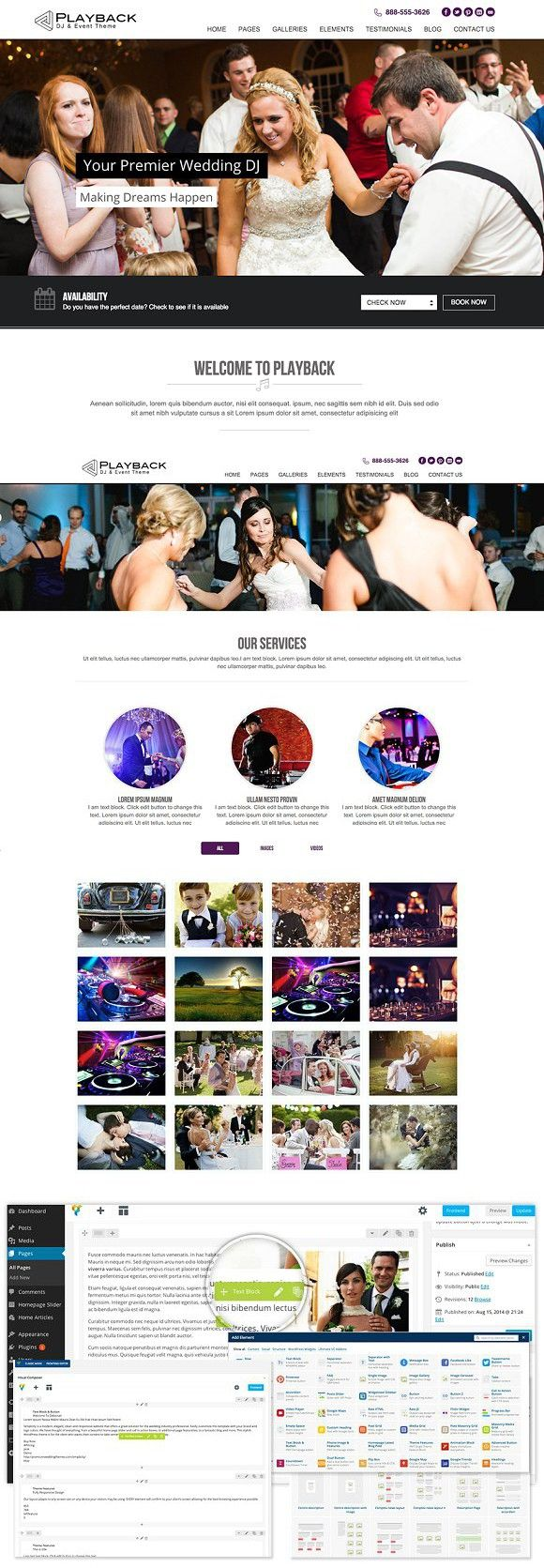 Playback Premium Wedding Dj Theme Wedding Dj Logo Color And Fonts