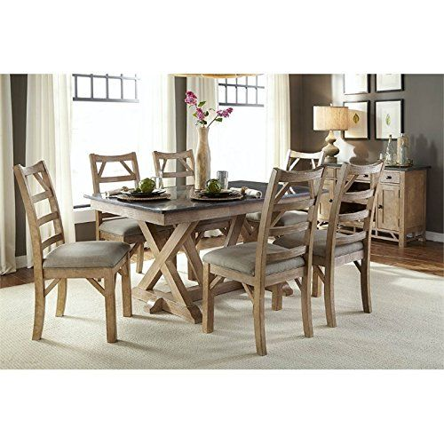 Aamerica West Valley 8 Piece Dining Set In Rustic Wheat  Kitchen Pleasing 8 Pc Dining Room Set Inspiration Design