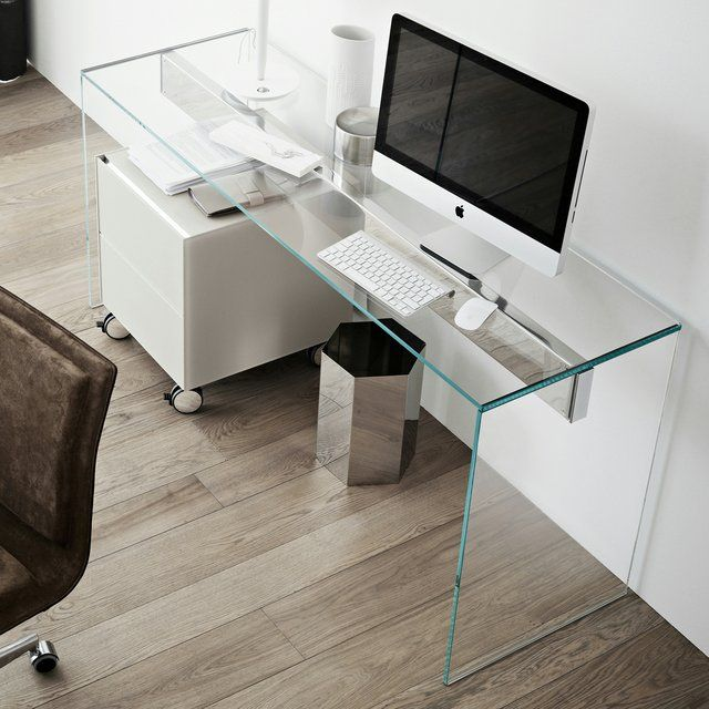Moderno escritorio d vidrio ESCRITORIOS Pinterest Consoles - Escritorios Modernos