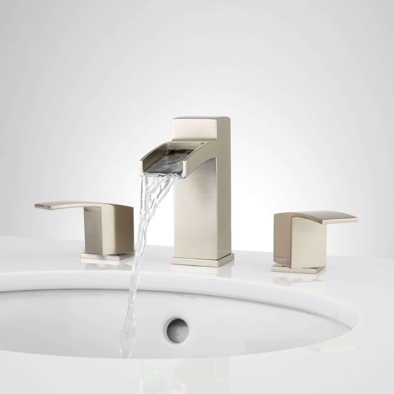 Morata Widespread Waterfall Bathroom Faucet  No Overflow Inspiration Brushed Nickel Bathroom Accessories Decorating Design