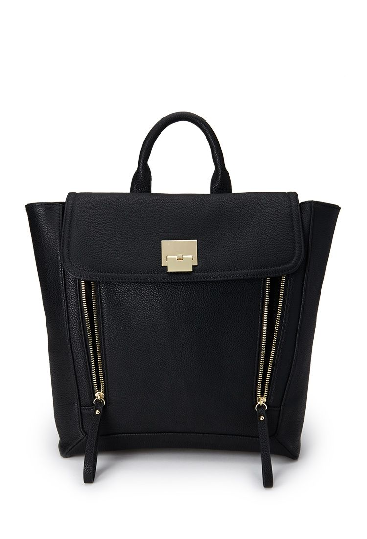 Faux Leather Trapeze Backpack | FOREVER21 #Backpack #Accessories