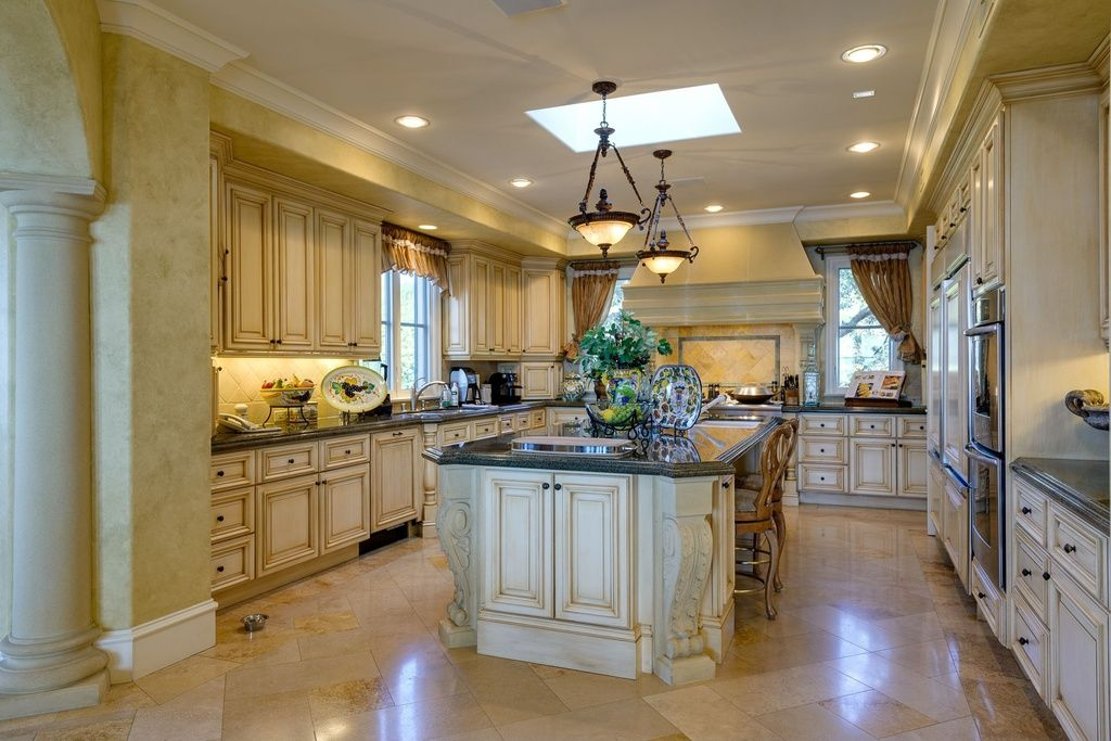 Traditional Kitchen with Undermount Sink, Complex granite counters ...