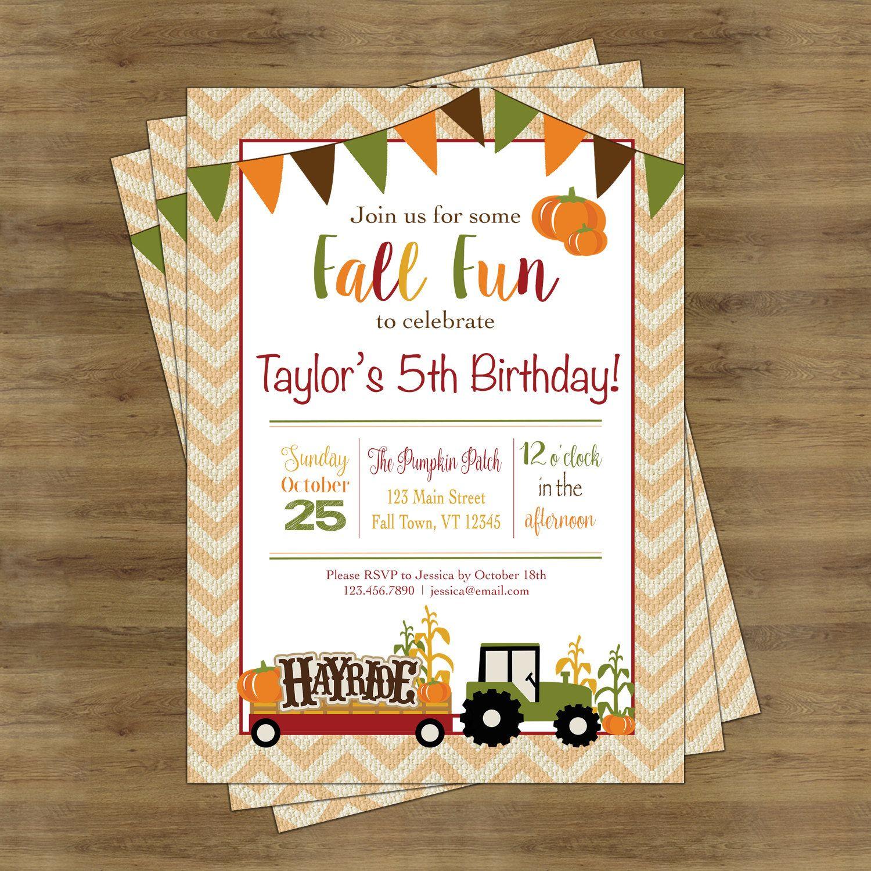 Fall Birthday Invitation Fall Birthday Party Fall Party
