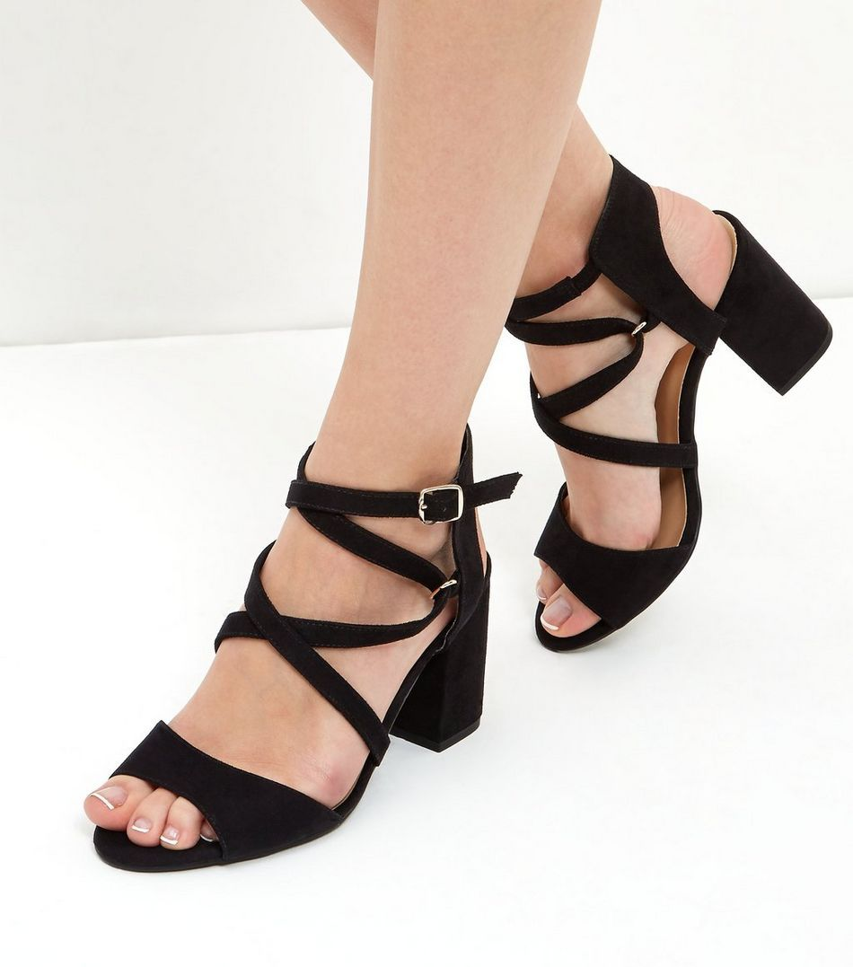 Wide Fit Black Suedette Strappy Block Heels New Look 34 99e