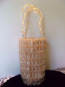 La Regale Bag Vintage Designer Purse Lucite Bead Clutch Small Beige 1950s | eBay