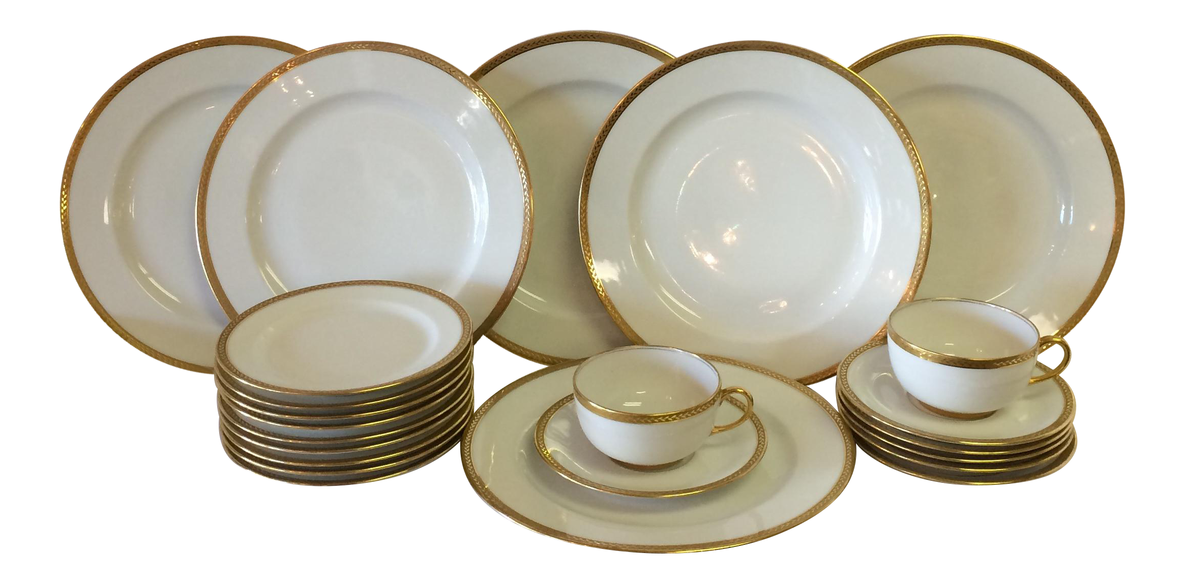 Limoges France Vignaud White With Gold China 23 Piece Gold China Limoges Leaf Decor White and gold dinner plates