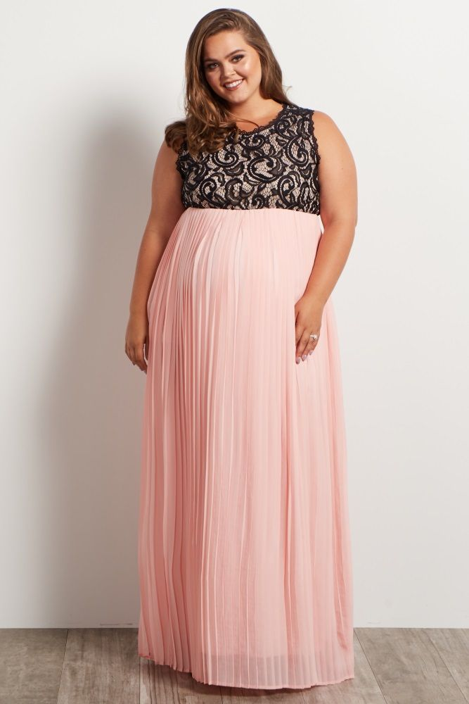 Light Pink Pleated Chiffon Lace Top Plus Maternity Maxi Dress ...