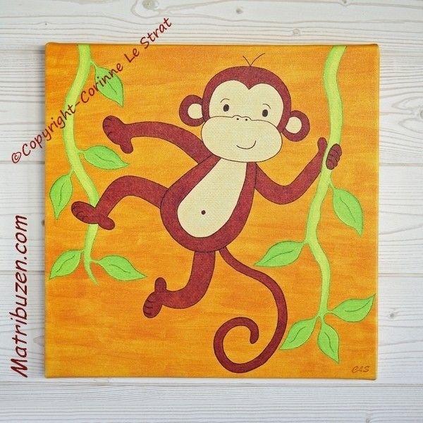 Tableau pour chambre d 39 enfant et b b sur le th me de la savane jungle boubou le singe - Toile pour chambre bebe ...