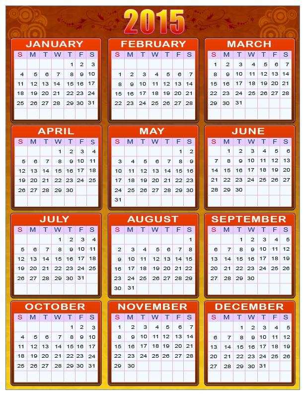 Printable Calendars For New Year Calendar Printables 2015 Calendar Printable Printable Yearly Calendar