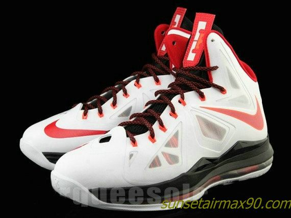 Nike LeBron X Home Sneakers (White/University Red-Black-Total Crimson)