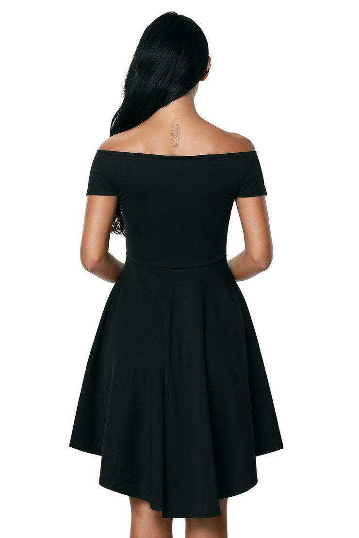 acac6169e58 Black Off The Shoulder High Elegant Slim Fitting Cocktail Skater Dress