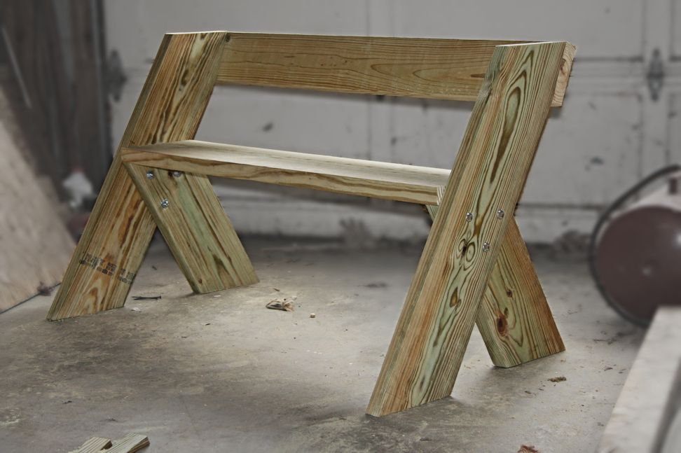 I finished my first Aldo Leopold bench today. 2x8 legs ...