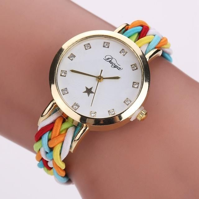 8cd03cdeaaa Fashion Weave Leather Watches Women Gold Rhinestone Wristwatch Casual  Ladies Bracelet Watch Women Dress Quartz Watch Gift DY069