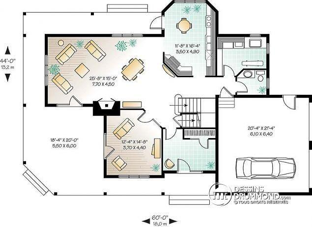 Détail du plan de Maison unifamiliale W6804A Maison Pinterest
