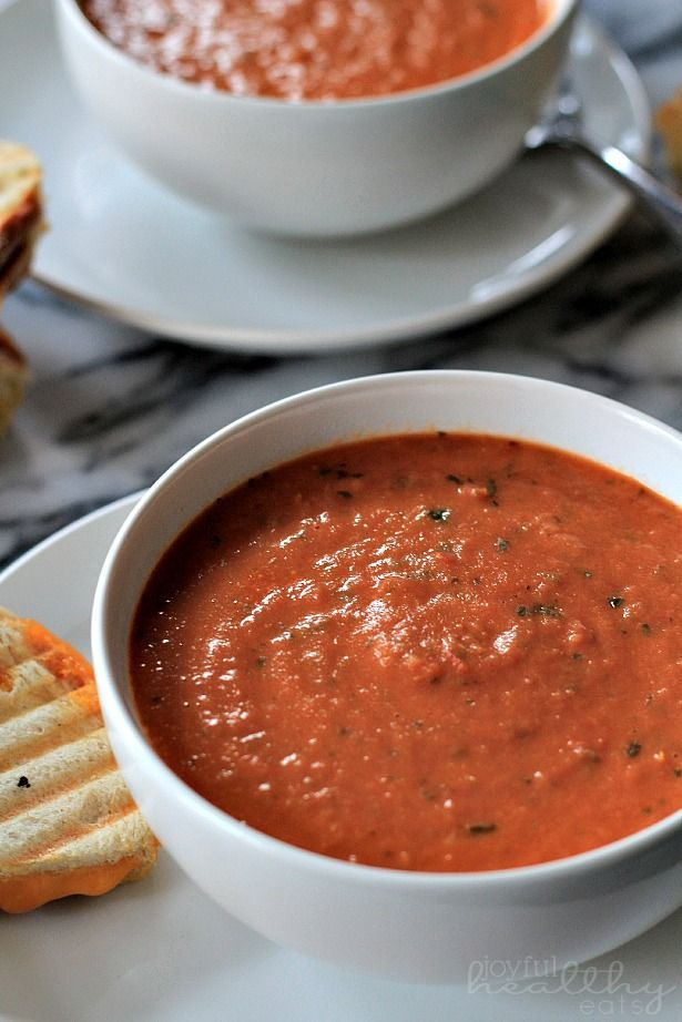 Homemade Creamy Tomato Basil Soup made with fresh tomatoes and basil, and only 161 calories per cup!   www.joyfulhealthyeats.com #recipes #healthy