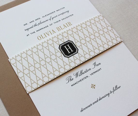Vermont Classic Wedding Invitations //DEPOSIT// by papela on Etsy, $100.00