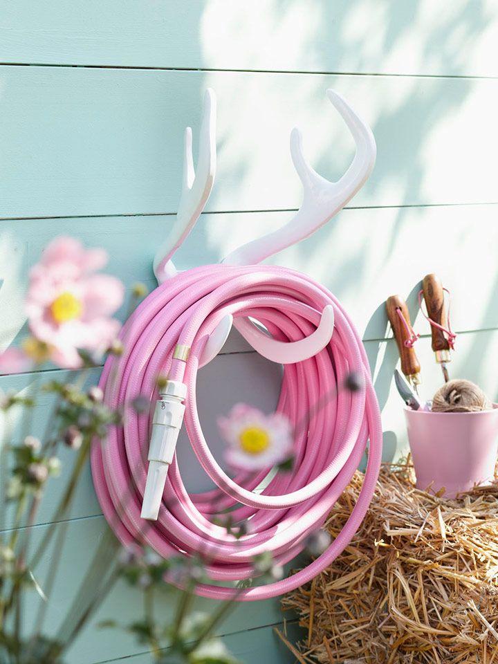 Rentier Geweih Gartenschlauch Aufhangung White Snake Von Garden Glory Rosa Garten Gartenschlauch Garten