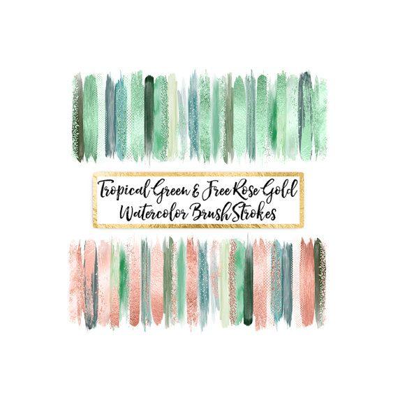 Watercolor Brush Strokes Clipart \ free rose gold by ItGirlDigital - free invitation clipart