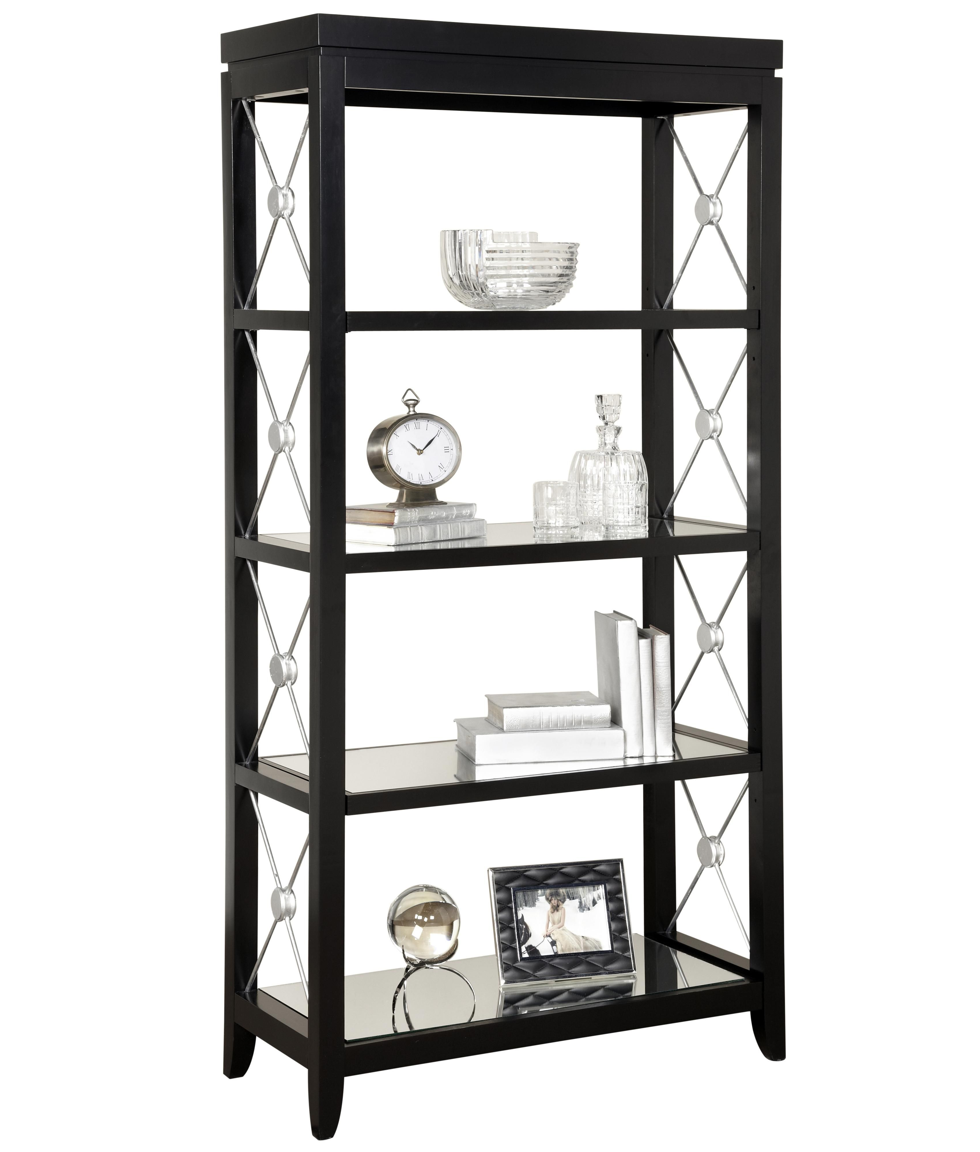 Trenton Finish Etagere with Mirrored Shelves and Decorative Metal X ...