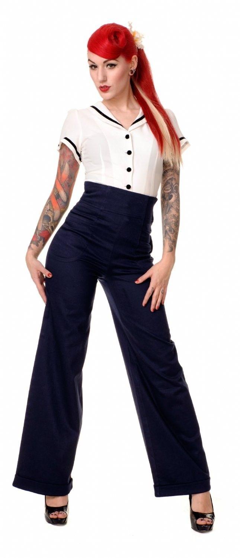 Pantalon Rétro Pin,Up 60\u0027s Taille Haute Franky Swing