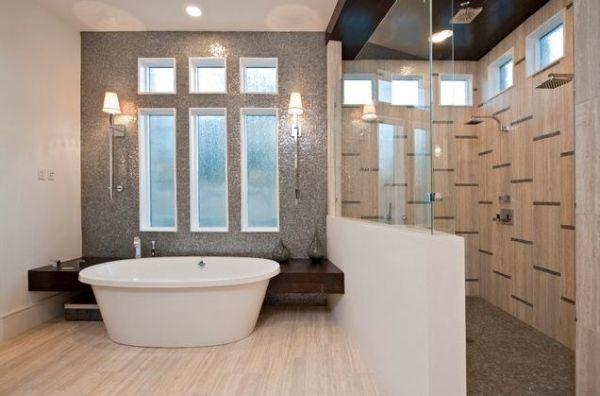 Klein Badezimmer Dusch Kabine Begehbar Freistehende Wanne Fenster .