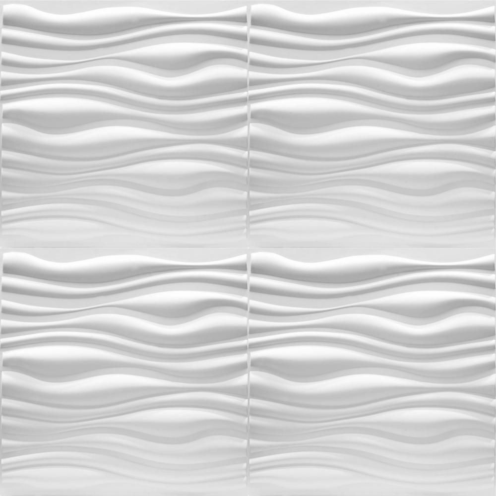 Luxorware 19 7 In X 1 In X 19 7 In White Pvc Fiber 3d Wall Panels 12 Pack Lw3d888 The Home Depot Pvc Wall Panels 3d Wall Panels Textured Wall Panels