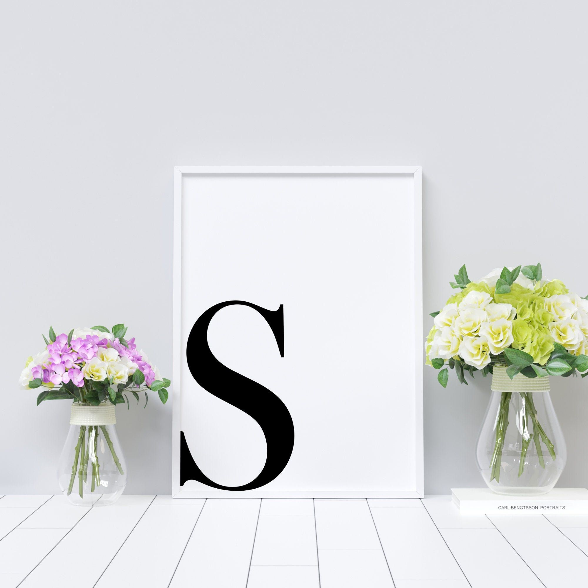 Letter S Printable Initial Wall Decor B W Typography Typography Art Minimalist Home Wall Art Decor Letter Poster Typography Print In 2020 Initial Wall Decor Initial Wall Wall Decor Printables