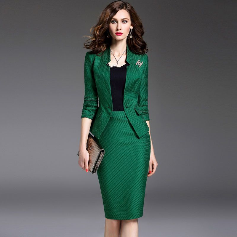 New Women S Skirt Suits Work Wear Spring And Autumn Long Sleeve Slim