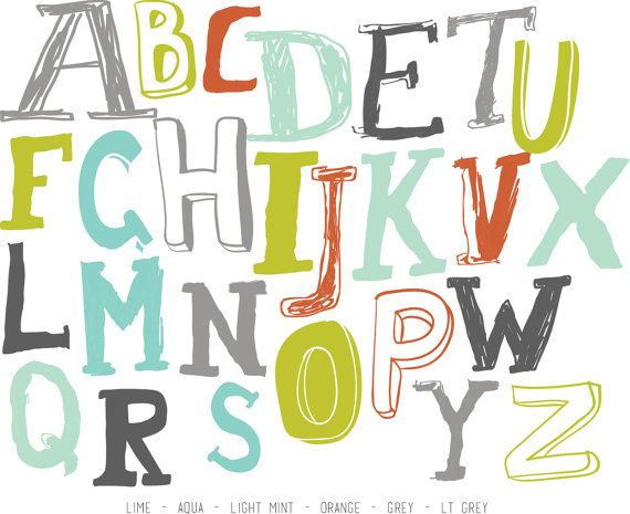Sketched Alphabet WALL DECAL by TheLovelyWall on Etsy