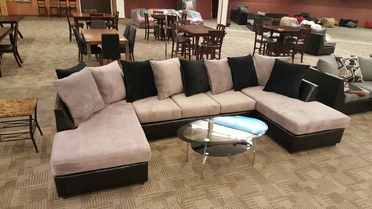 Large 3pc Sectional Sofa W Double Chaise In Jamba Fabric