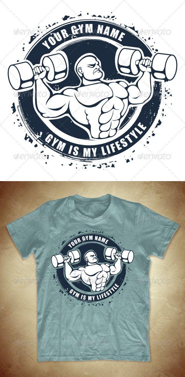 24202b5b5 Grunge T-shirt design with bodybuilder - GraphicRiver Item for Sale ...